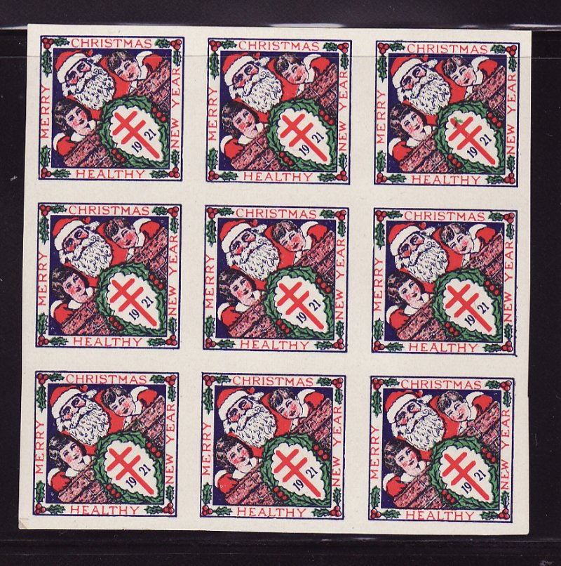 1921-3p, WX26a, U.S. Christmas TB Seals Imperforate Block, Type 3, with flaw on seal #47