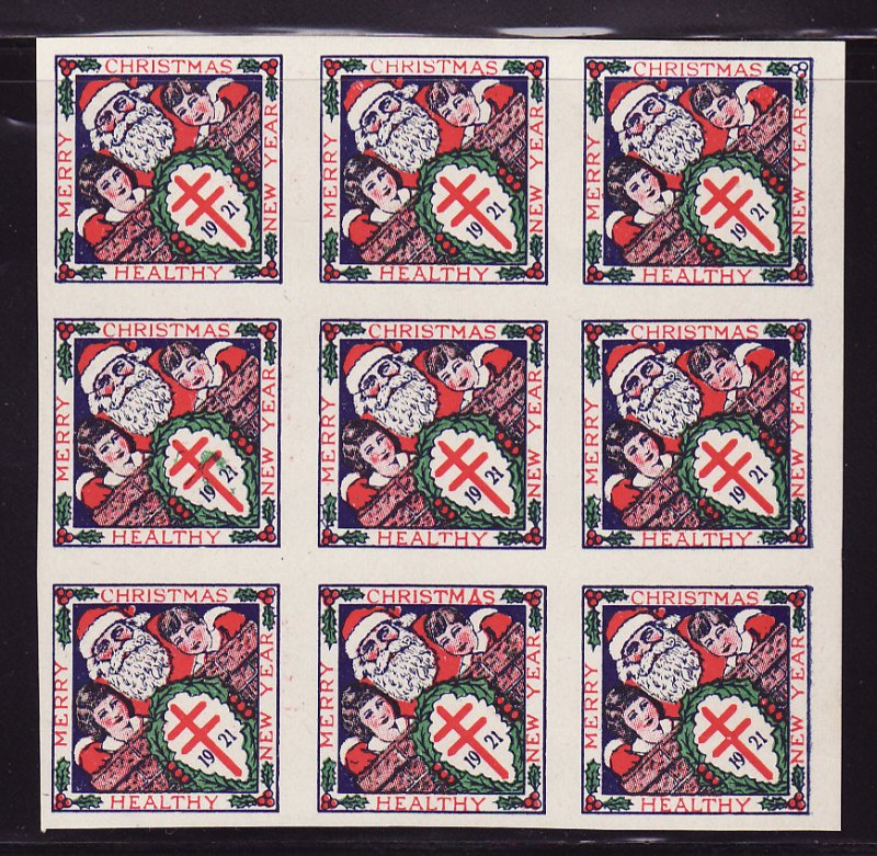 1921-3p, WX29a, U.S. Christmas TB Seals Imperforate Block, Type 3, with flaw on seal #49