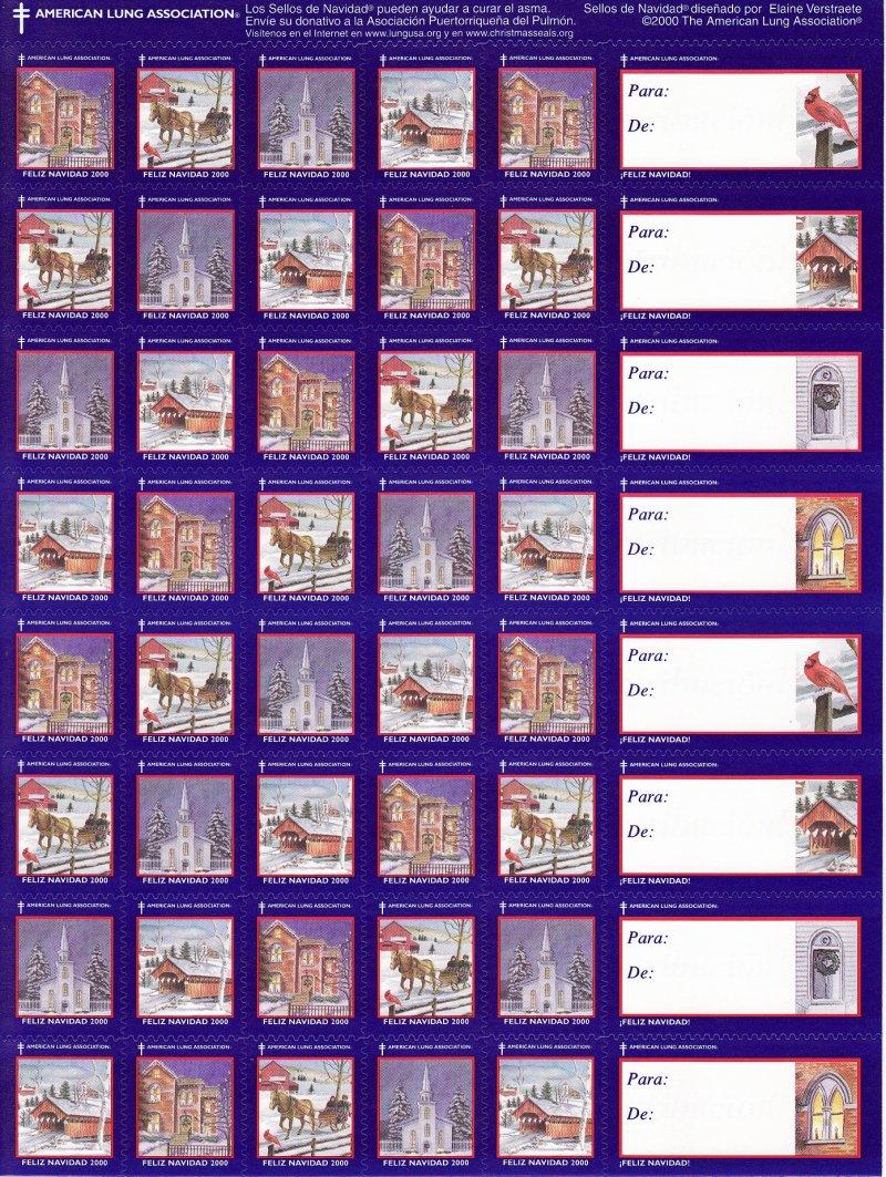 2000-2.1xA, 2000 ALA National U.S. Christmas Seals Sheet, Spanish Text, reverse of sheet