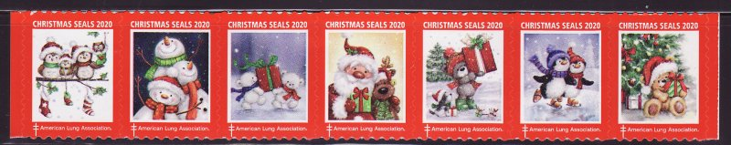 2020 U.S. National Christmas Seals, As Required Strip of 7 Designs