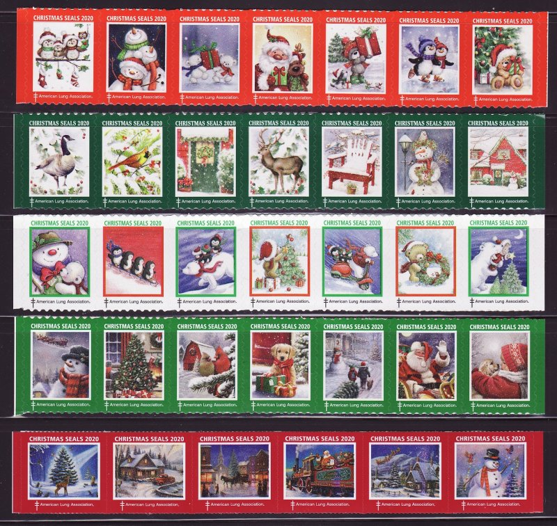 2020-T4, 2020 U.S. Test Design Christmas Seals, As Required Strip of 7 Designs