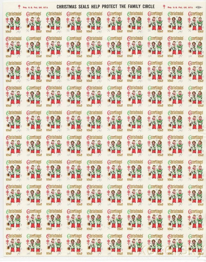 1960-5px, 1960 U.S. National Christmas Seals, Imperforate Proof Sheet