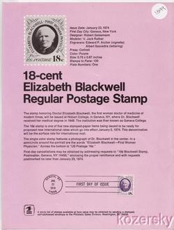 U.S. 1399, Elizabeth Blackwell Stamp USPS Official Souvenir Page