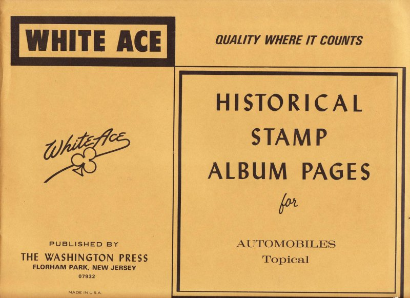 Autos on Stamps, White Ace Topical Stamp Album Pages