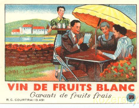 Thumbnail of 1920s French Wine Label-Outdoor French Restaurant Scene