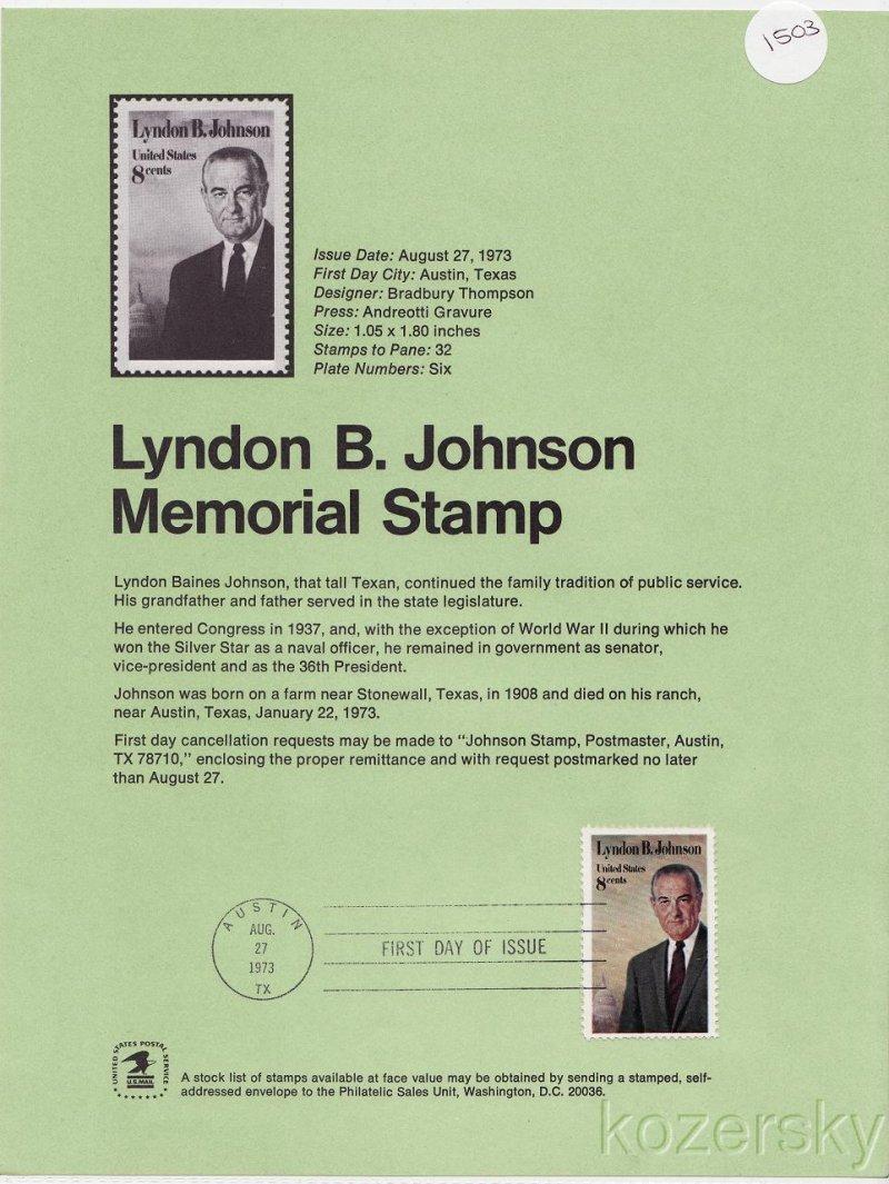 U.S. 1503, Lyndon B. Johnson Memorial Stamp USPS Official Souvenir Page