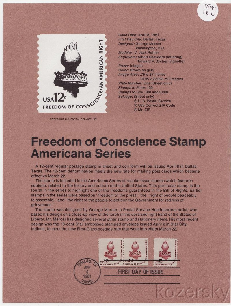 U.S. 1594, 1816, Freedom of Conscience Stamp, USPS Official Souvenir Page