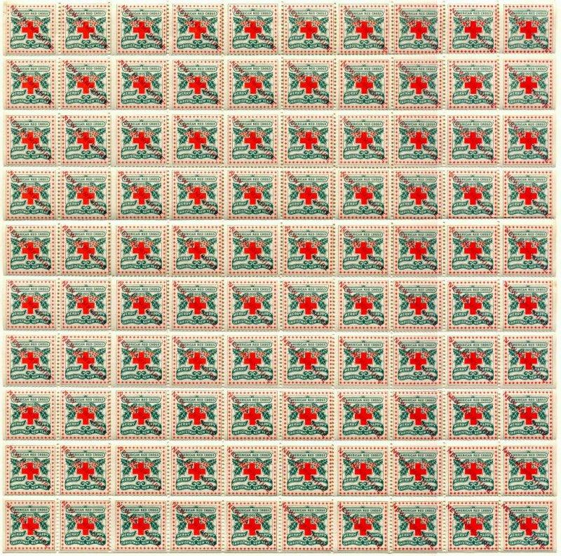1909-1421x, 1909 U.S. Red Cross Christmas Seals Sheet, New Hampshire Overprint