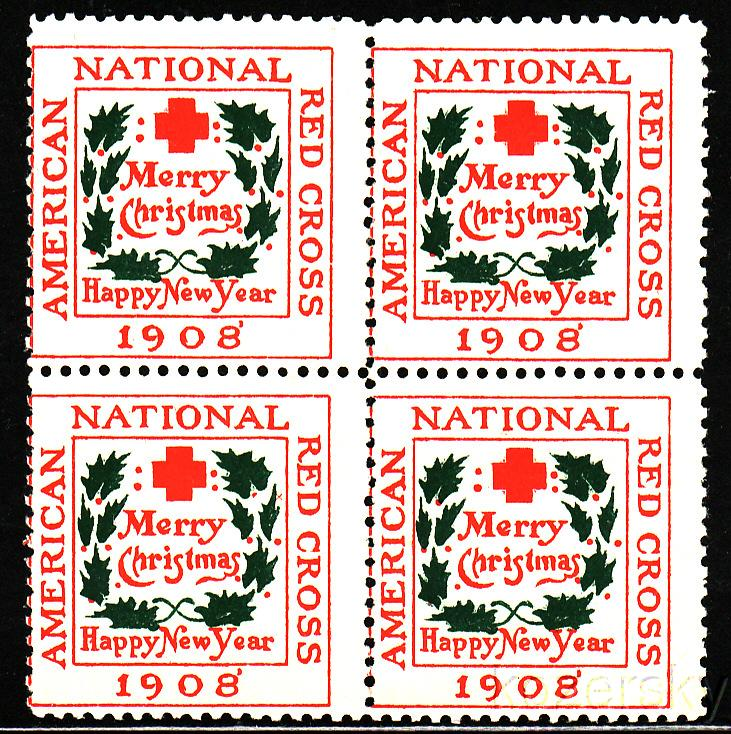 1908-1A, U.S. Red Cross Christmas Charity Seals, Type 1A, blk/4