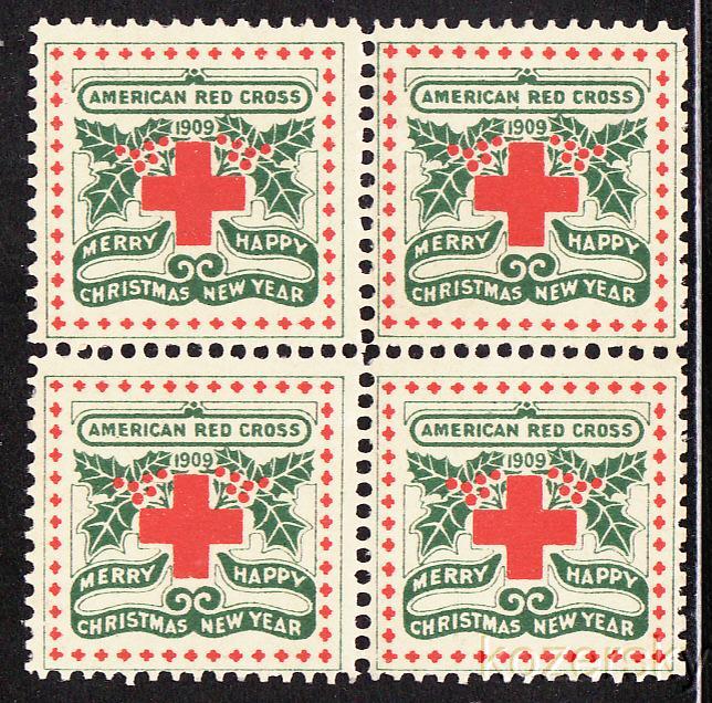 1909-1, WX5, U.S. Red Cross Christmas Seals, block of 4