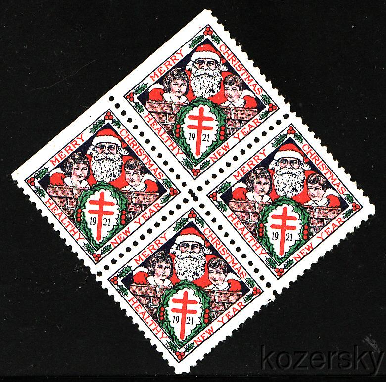 1921-1, WX28, U.S. Christmas TB Charity Seals, blk/4 SE