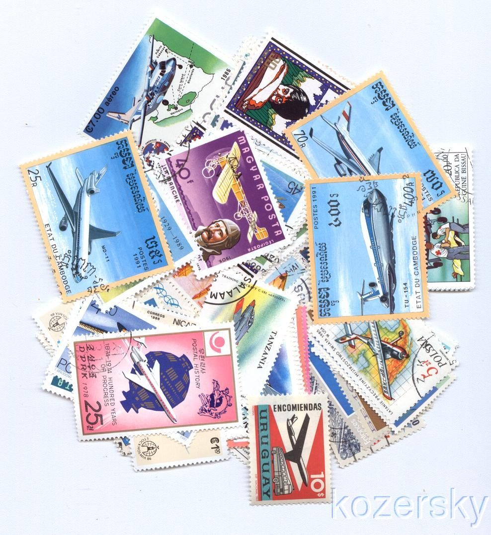Thumbnail of Aviation Topical Stamp Packet,  50 diff.