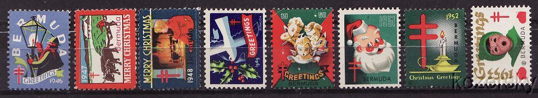 Bermuda 1-8, Bermuda TB Charity Seal Collection, 1946-53