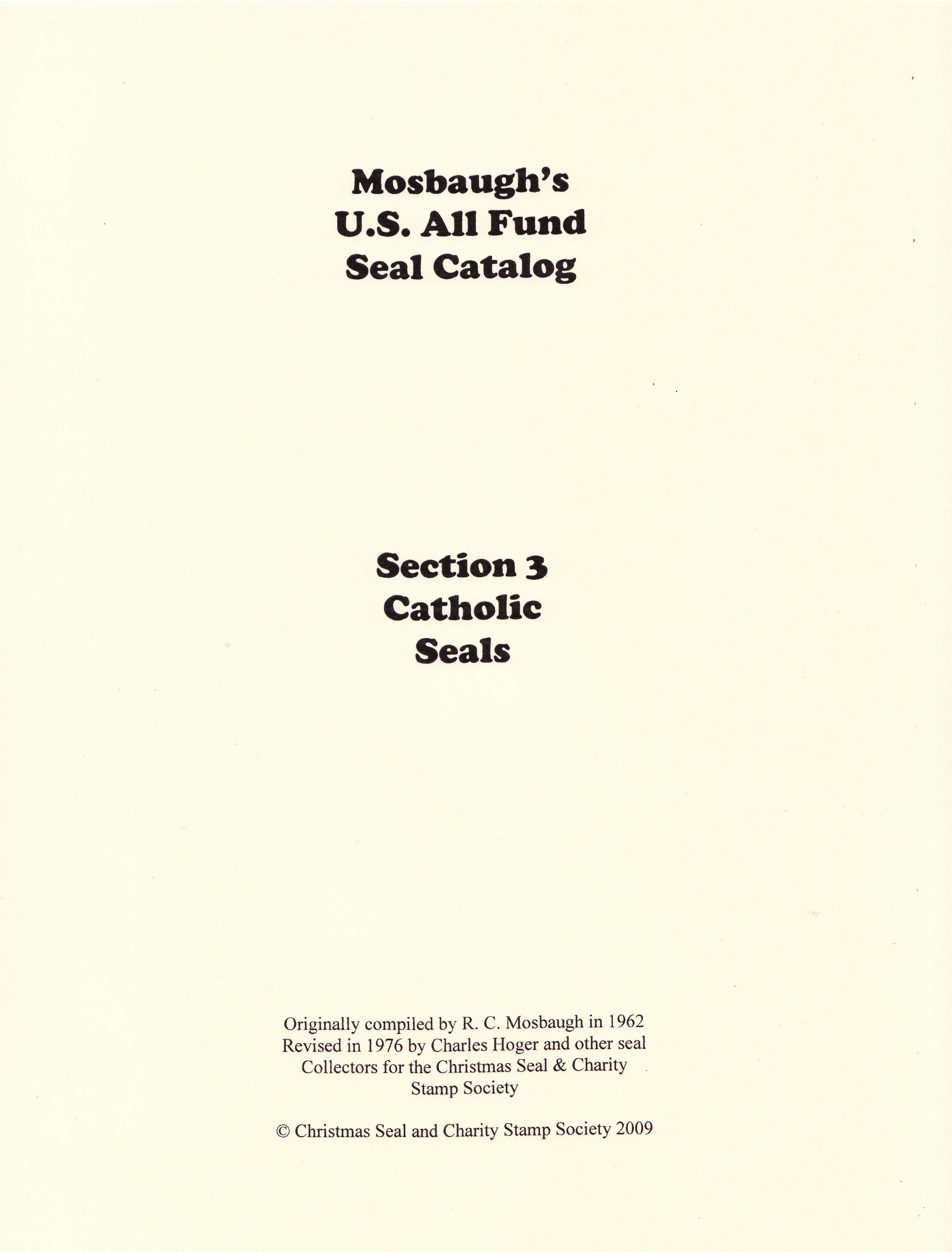 Mosbaugh's Catalog, Sec. 3, Catholic Charity Seals,  Boys Town Seals, 1962 ed., Rev. 1983