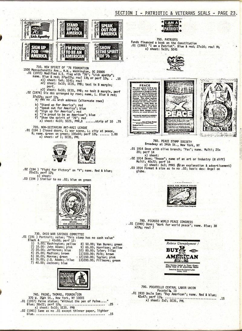Mosbaugh Catalog Patriotic & Veteran's Charity Seals, Sec. 1, 1962 ed, Rev. 1979