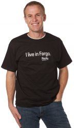 Thumbnail of I Live In Fargo. Really. Black Tshirt