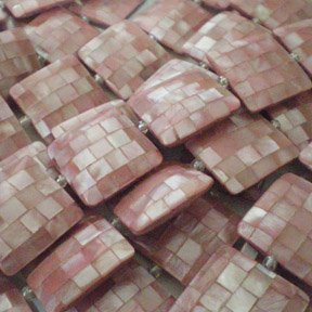 20x20x6 Square Pink Hammershell Blocking Shell Beads