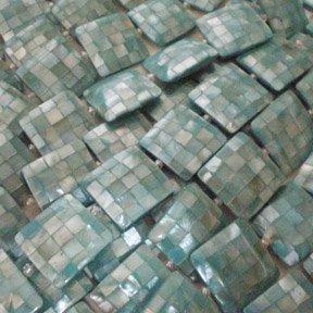 20x20x6mm Square Aqua Blue Hammershell Blocking Beads