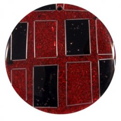 Thumbnail of Sawdust Red and Black with Recta Silver Wire Pendant
