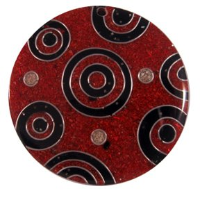 Red Sawdust with Red and Black circles and Silver Wire Pendant