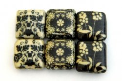 Thumbnail of Decoupage Black and White Leaves and Flowers on Black Wood Beads