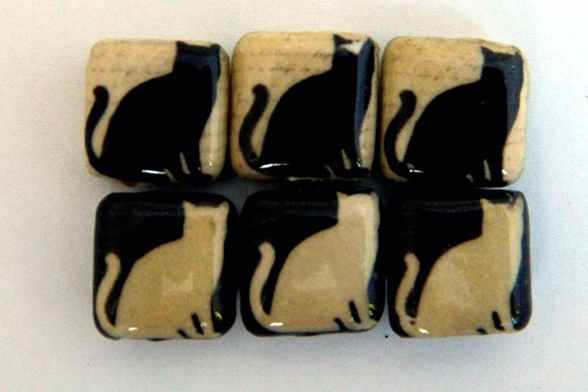Decoupage Beads, Cat, Black and White Cats