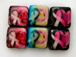 Thumbnail of Decoupage Heart and flowers with Pink Ribbons Wood Beads