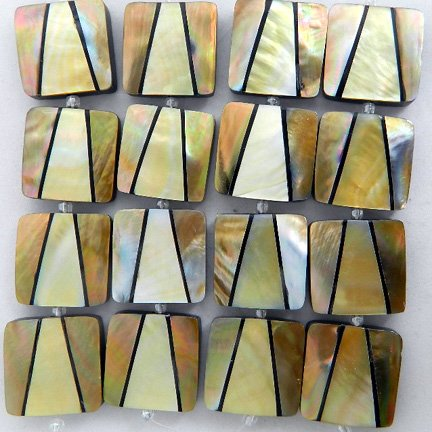 30mm Square Inlaid Shell Beads - MOP Combination