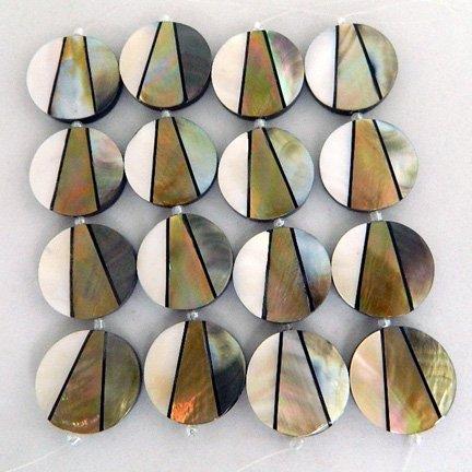 32mm Round Inlaid Shell Beads