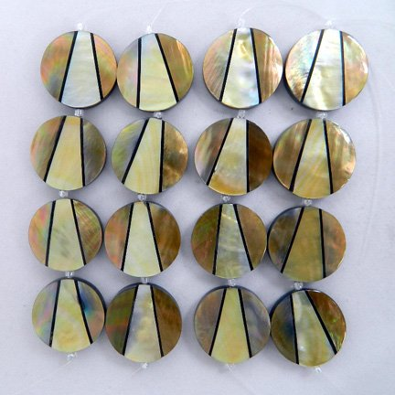 32mm Round Inlaid Shell Beads - MOP Combination