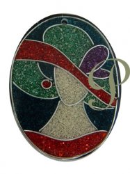 Thumbnail of Sawdust Light Blue-Red Hat Lady with Silver Wire Oval Pendant