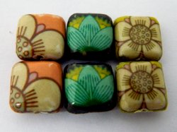 Thumbnail of Decoupage Leaves and Flowers Wood Beads
