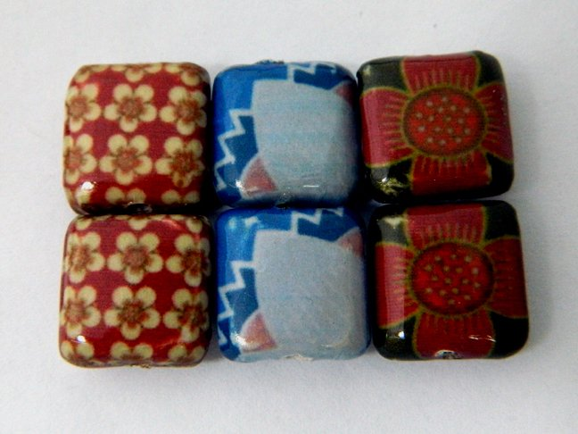 Decoupage Leaves and Flowers Wood Beads