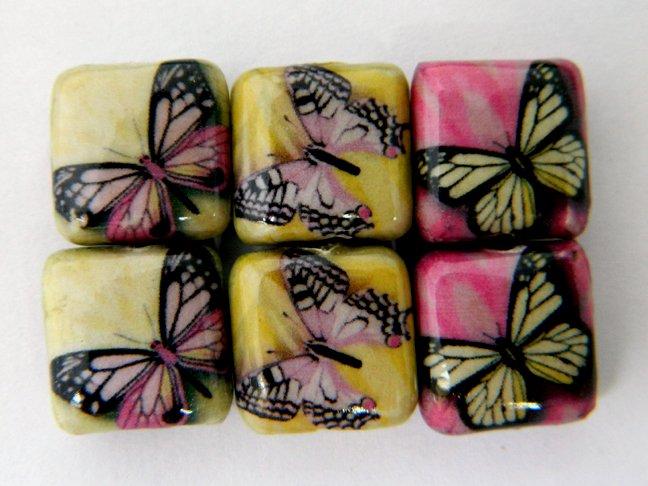 Decoupage Purple Butterflies Wood Beads