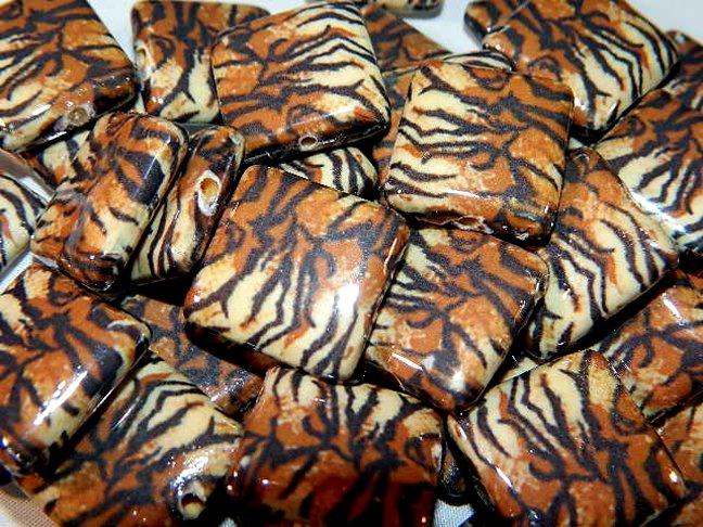 Decoupage Leopard Skin Design Wood Beads