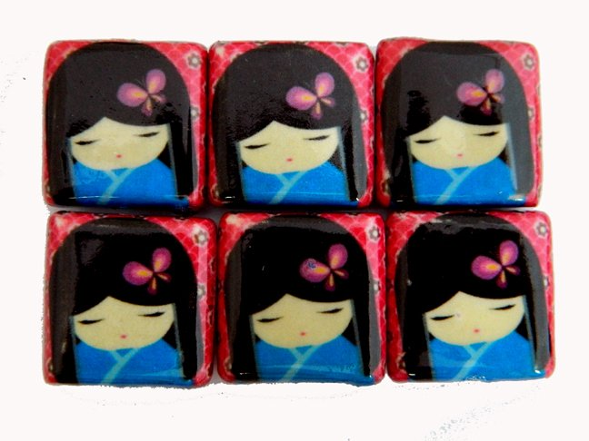 Oriental Theme, Decoupage Japanese Dolls in Blue Kimono with Red Backing Wood Beads