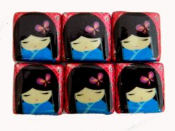 Thumbnail of Decoupage Japanese Dolls in Blue Kimono with Red Backing Wood Beads