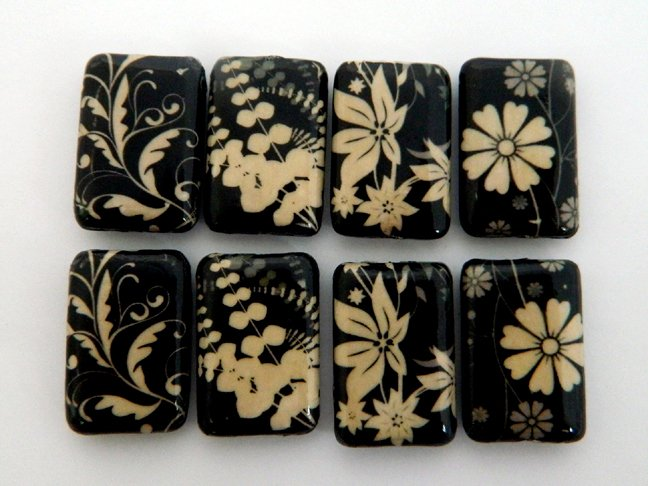 Black and White Leaves and Flowers Vintage Decoupage Wood Beads