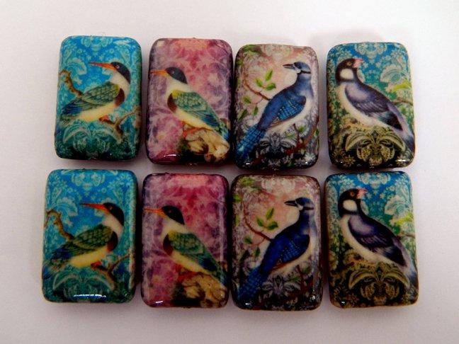 Exotic Birds Decoupage Wood Beads