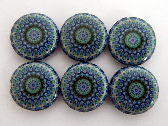 Kaleidoscope Purple Decoupage Wood Beads