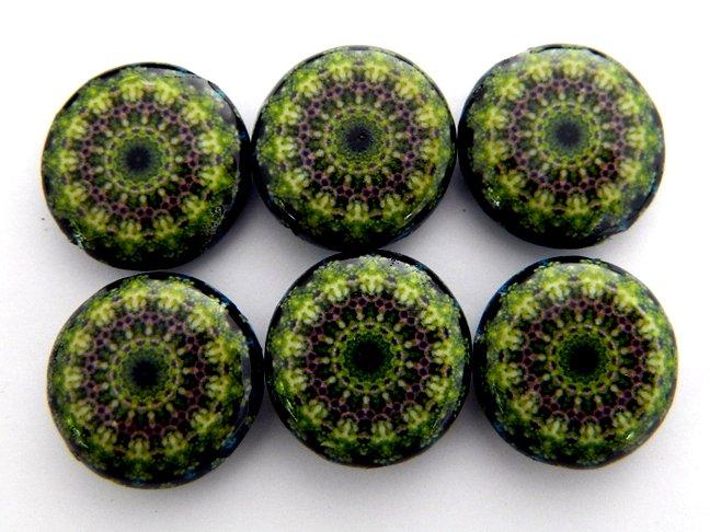 Kaleidoscope Green Decoupage Wood Beads