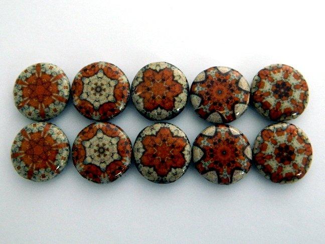 Kaleidoscope Brown Decoupage Wood Beads