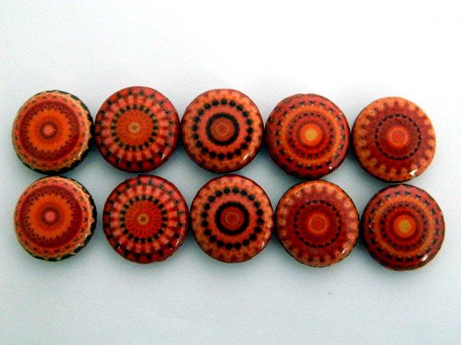 Kaleidoscope Orange Decoupage Wood Beads