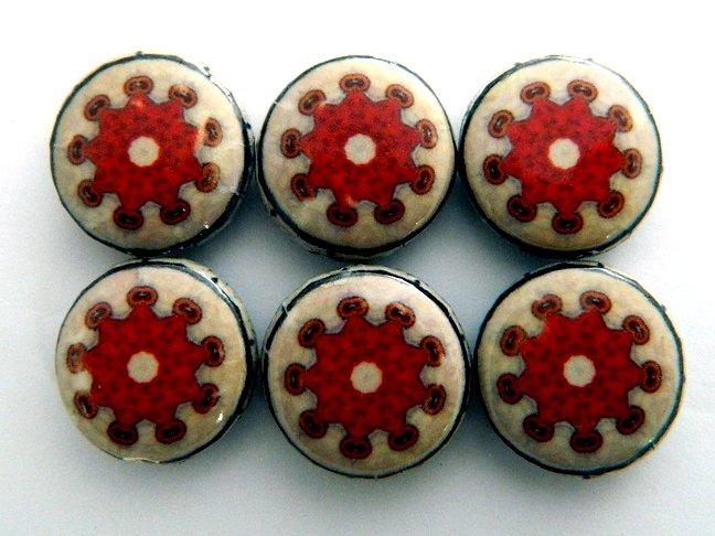Kaleidoscope Red Decoupage Wood Beads