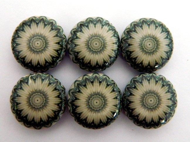 Kaleidoscope Gray Decoupage Wood Beads