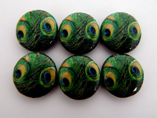 Green Peacock Feathers Decoupage Wood Beads