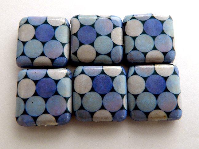 Circles Decoupage Wood Beads