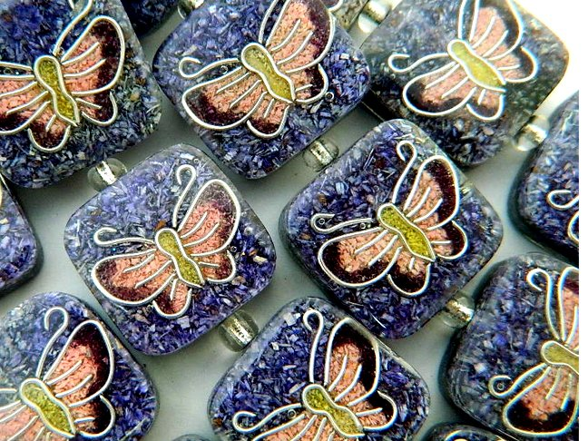 Recycled Sawdust Pink Butterfly Beads