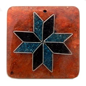 Recycled Sawdust Pendant, Orange with Crushed Capiz