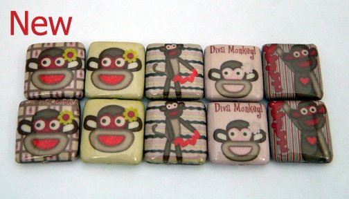 Monkey Mix Decoupage Beads
